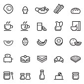 Breakfast Thin Line Icons