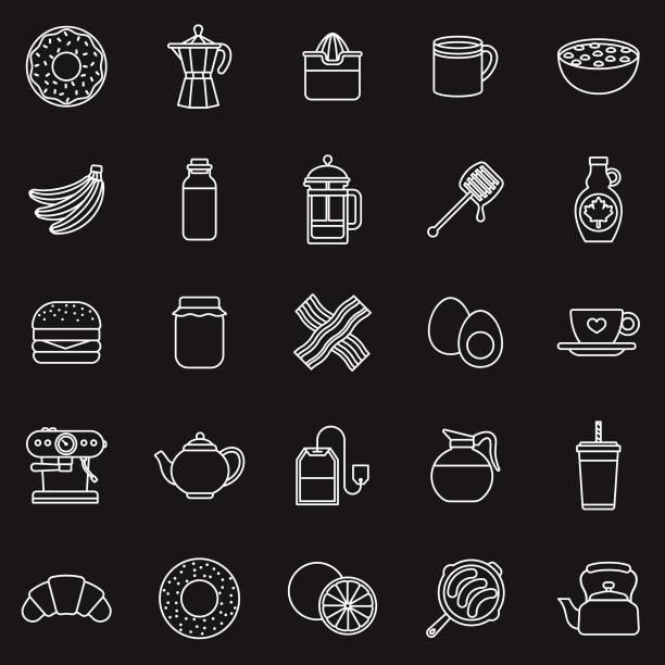 illustrations, cliparts, dessins animés et icônes de petit déjeuner mince ligne contour icon set - infusion pamplemousse