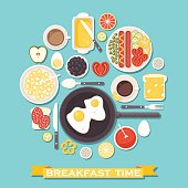 Vector breakfast time illustration with flat icons of fresh food and drinks arranged in circle