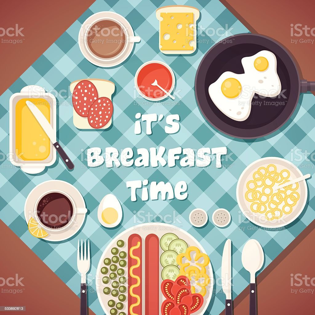 Breakfast time illustration with food and drinks vector art illustration