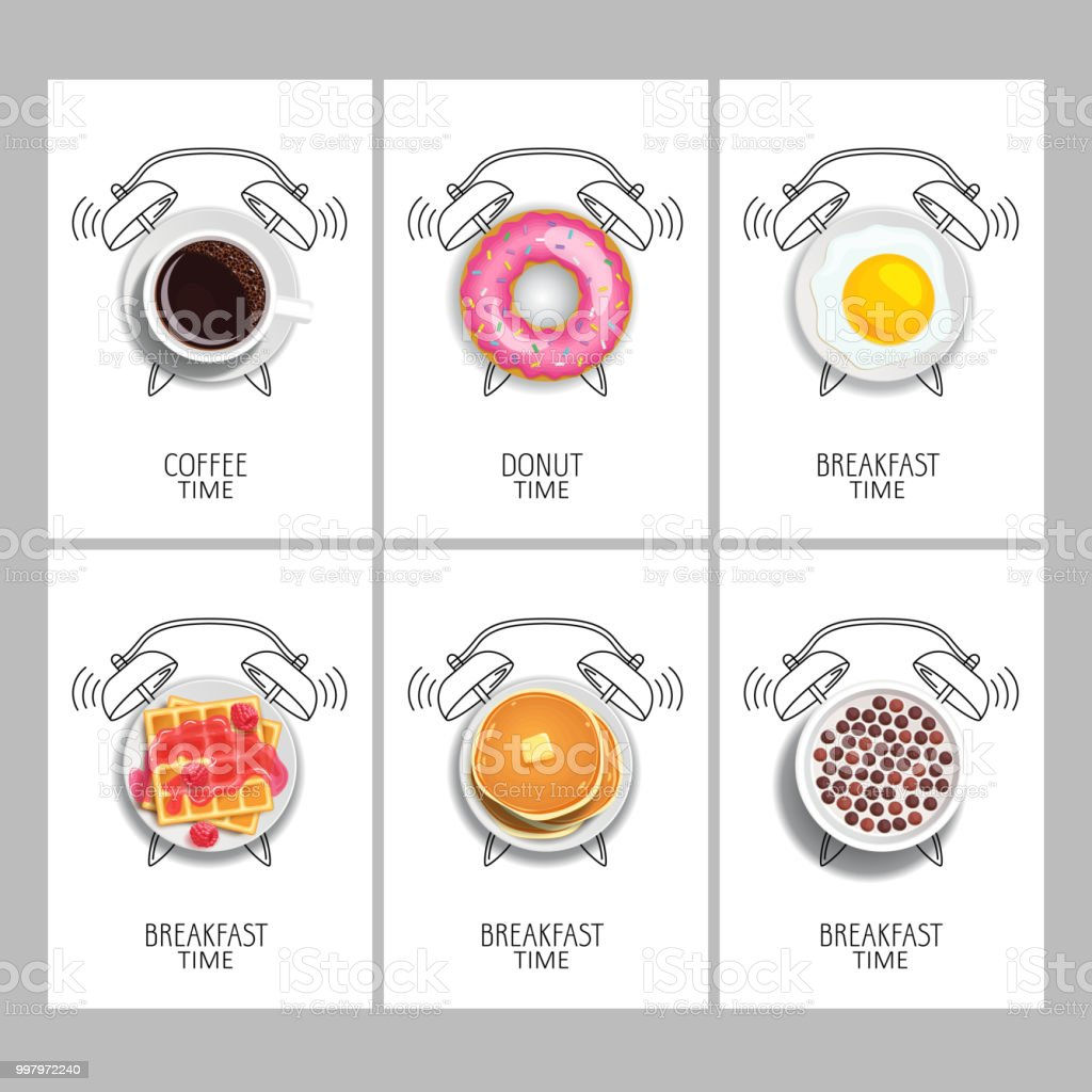 Breakfast time. Realistic food and painted alarm clock. Concept. Vector illustration. - Royalty-free Alarme arte vetorial