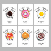Breakfast time. Realistic coffee,  donut, waffles, jam and fresh raspberries, milk with chocolate cereal balls, pancake with butter, fried egg and painted alarm clock. Concept. Vector illustration.