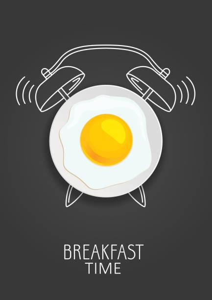 frühstückszeit. realistische spiegelei und malte wecker. konzept. vektor-illustration - spiegelei stock-grafiken, -clipart, -cartoons und -symbole