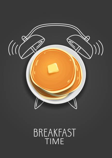 朝食の時間。バターと塗られた目覚まし時計でリアルなパンケーキ。コンセプトです。ベクトル図 - パンケーキ点のイラスト素材/クリップアート素材/マンガ素材/アイコン素材