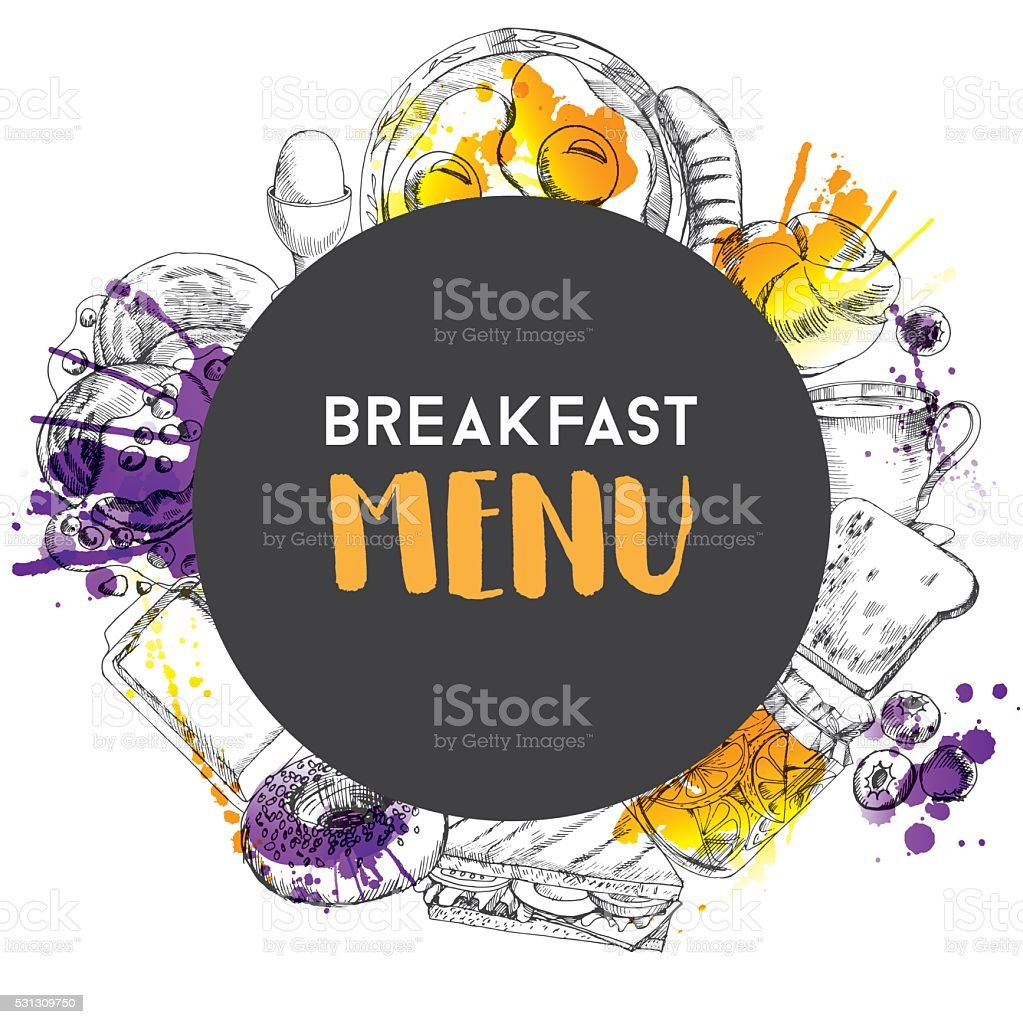 Breakfast time vector art illustration
