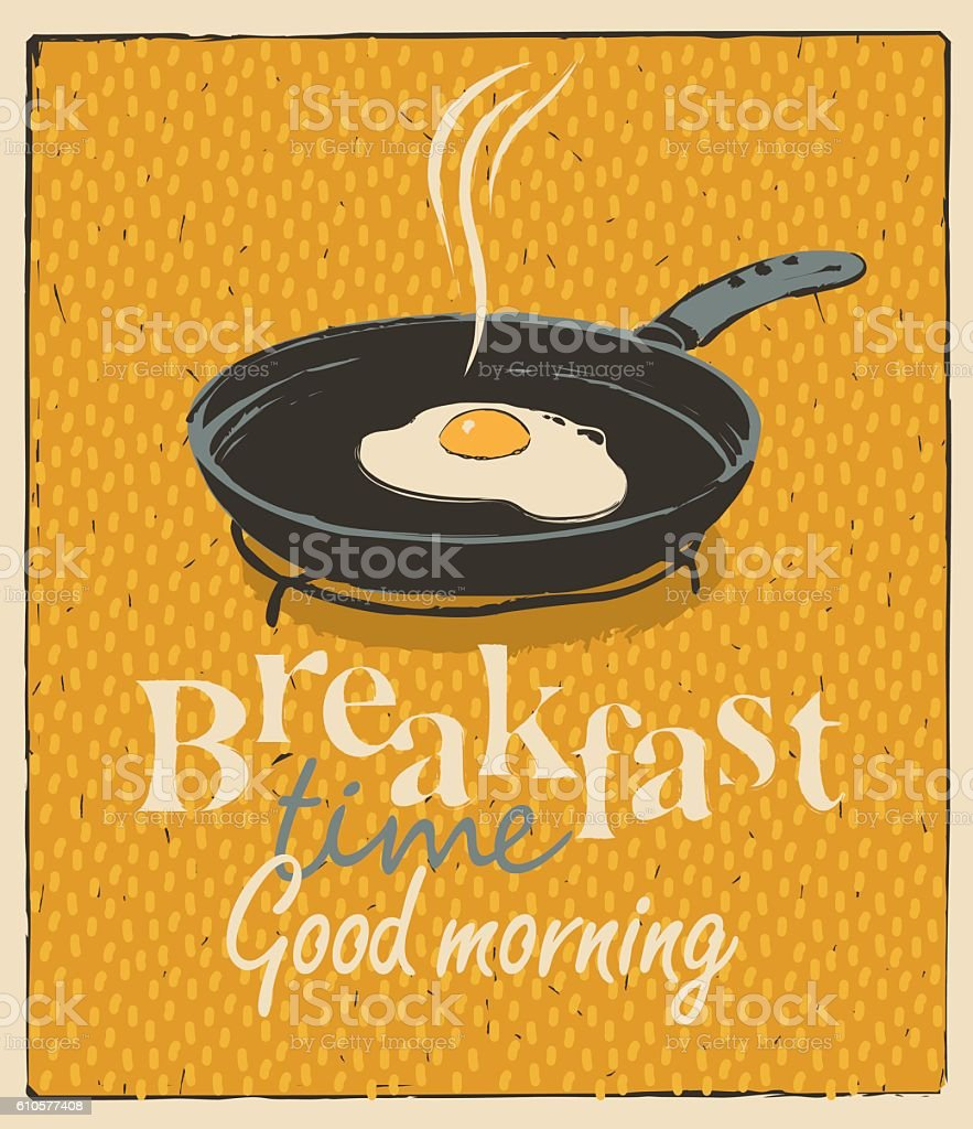 breakfast time with a frying pan and fried eggs vector art illustration