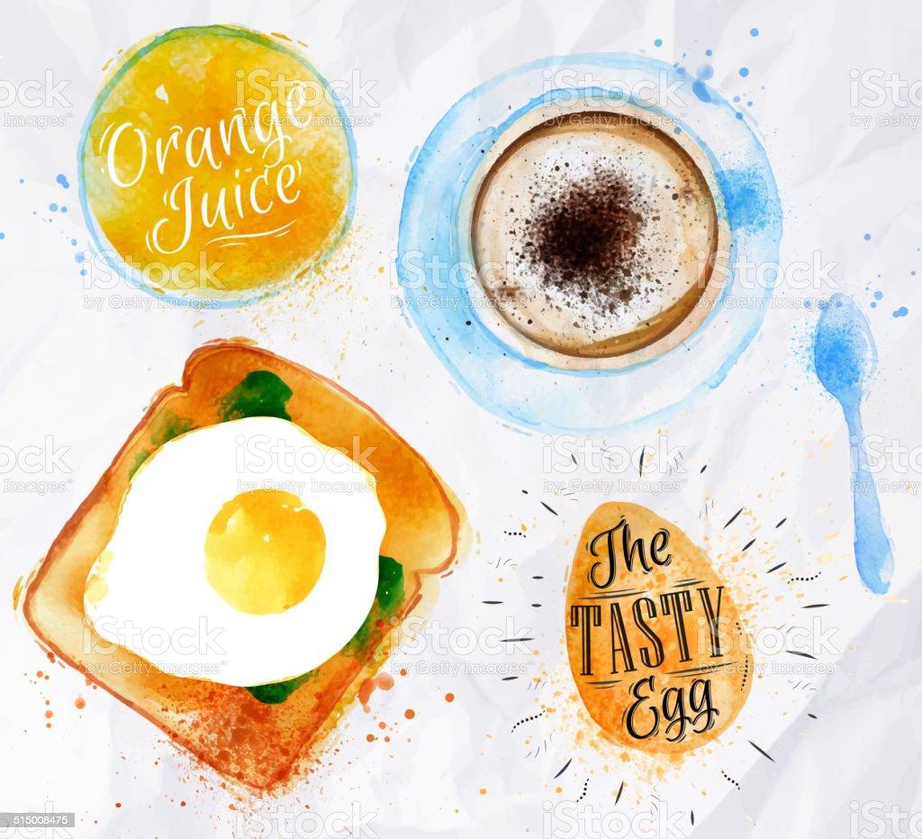 Breakfast toast egg juice vector art illustration