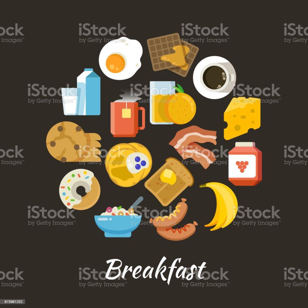 Notion de vecteur de petit déjeuner. Des aliments frais et sains iconce plat en cercle design - Illustration vectorielle