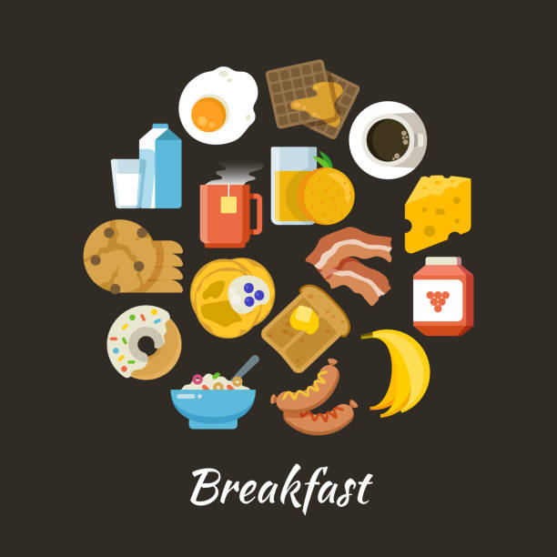 朝食ベクトル概念。新鮮で健康食品フラット iconce 円の設計 - 朝食点のイラスト素材/クリップアート素材/マンガ素材/アイコン素材