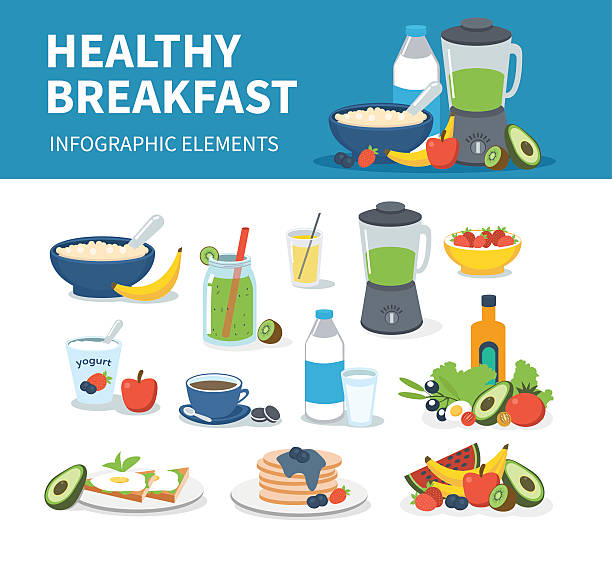 breakfast - healthy eating stock illustrations, clip art, cartoons, & icons