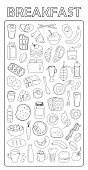 Breakfast. Vector set with hand drawn doodles on the theme  of food. Sketches for use in design.  Bread, butter, eggs, vegetables, fruits, baking, meat, milk.