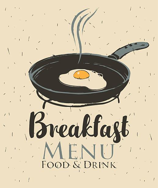 breakfast with a frying pan and fried eggs - spiegelei stock-grafiken, -clipart, -cartoons und -symbole