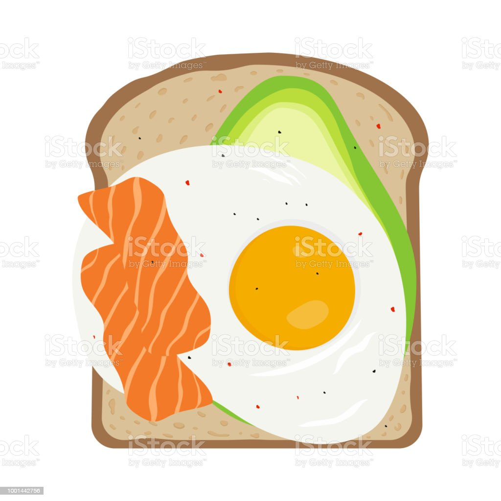 breakfast with egg and toast vector art illustration