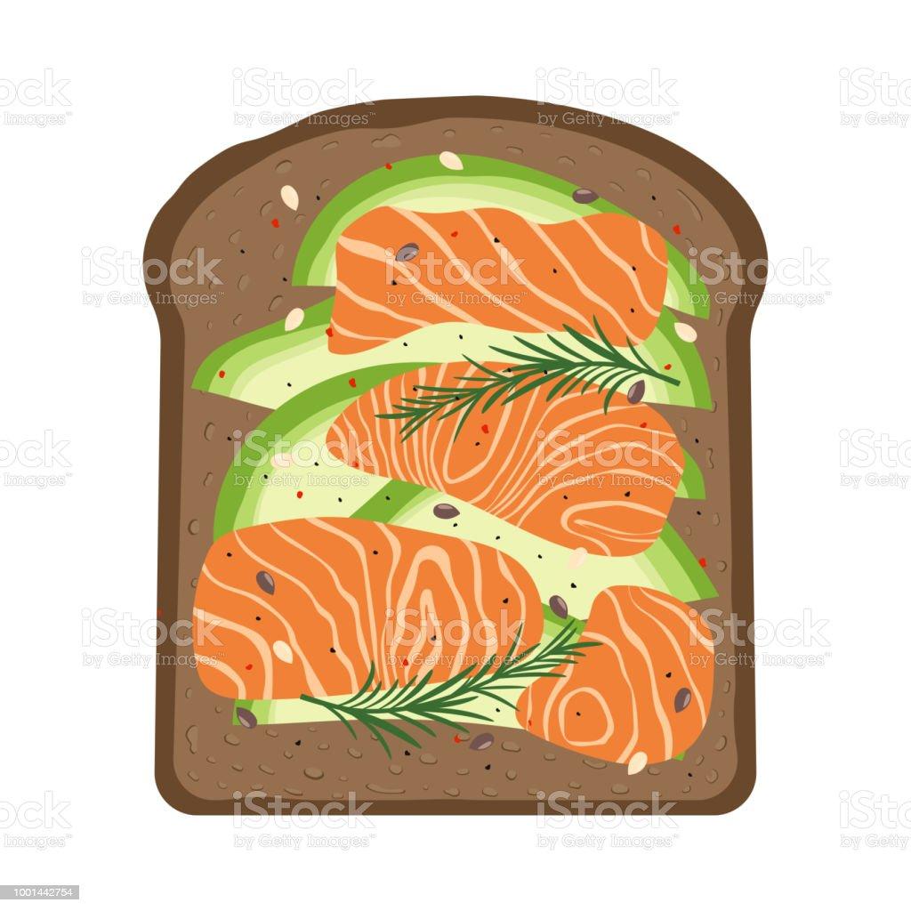 Frühstück Mit Lachs Und Toast Stock Vektor Art und mehr Bilder von ...