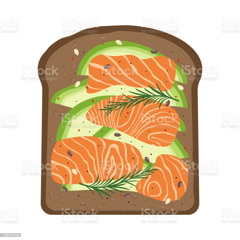 breakfast with salmon and toast vector art illustration