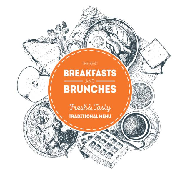 Breakfasts and brunches label. Food menu design template. Vintage hand drawn sketch vector illustration. Circle concept. Engraved image Breakfasts and brunches label. Food menu design template. Vintage hand drawn sketch vector illustration. Circle concept. Engraved image brunch stock illustrations