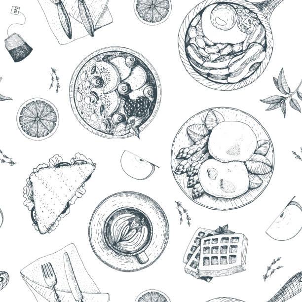 frühstück und brunch musterdesign. food-menü-design. vintage handgezeichnete skizze vektor-illustration. das design der verpackung oder ein menü für das frühstück. - frühstück stock-grafiken, -clipart, -cartoons und -symbole