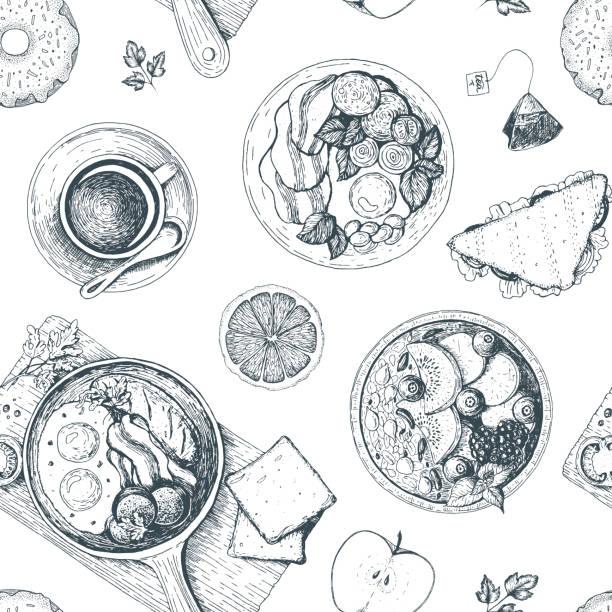 朝食やブランチなどのシームレスなパターン。フード メニュー デザイン。ヴィンテージ手描きスケッチのベクター イラストです。包装または朝食のメニューのデザイン。 - 朝食点のイラスト素材/クリップアート素材/マンガ素材/アイコン素材