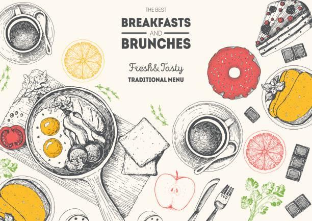 Breakfasts and brunches top view frame. Food menu design. Vintage hand drawn sketch vector illustration. Engraved style image. Traditional breakfast. Breakfasts and brunches top view frame. Food menu design. Vintage hand drawn sketch vector illustration. Engraved style image. Traditional breakfast. cooking borders stock illustrations
