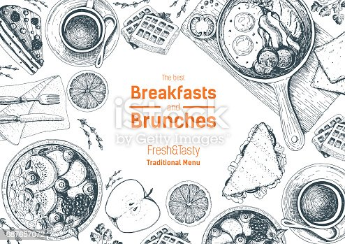 istock Breakfasts and brunches top view frame. Food menu design. Vintage hand drawn sketch vector illustration. 687657072