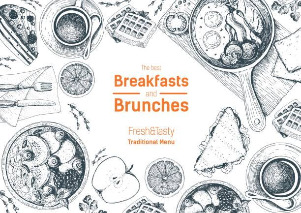 Breakfasts and brunches top view frame. Food menu design. Vintage hand drawn sketch vector illustration. Breakfasts and brunches top view frame. Food menu design. Vintage hand drawn sketch vector illustration. cooking borders stock illustrations
