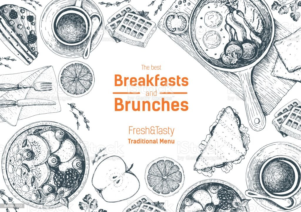 Breakfasts and brunches top view frame. Food menu design. Vintage hand drawn sketch vector illustration. vector art illustration