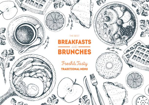 Breakfasts and brunches top view frame. Food menu design. Vintage hand drawn sketch vector illustration. vector art illustration