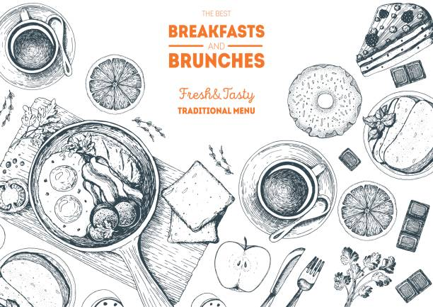 breakfasts and brunches top view frame. food menu design. vintage hand drawn sketch vector illustration. - breakfast stock illustrations