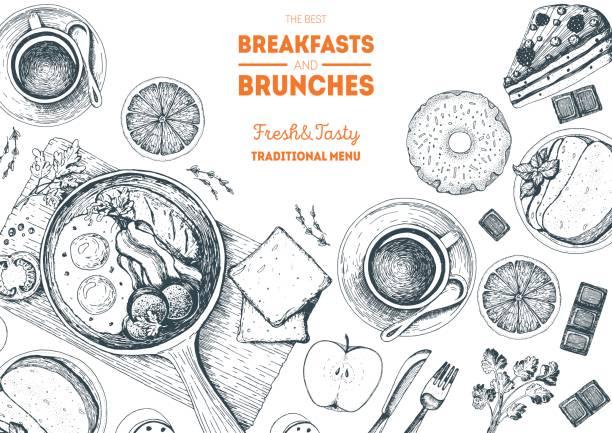 ilustraciones, imágenes clip art, dibujos animados e iconos de stock de desayunos y brunches superior marco de vista. diseño de menú de alimentos. ilustración de vector de boceto dibujado a mano vintage. - desayuno