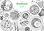 istock Breakfasts top view frame. Morning food menu design. Breakfast and brunches dishes collection. Vintage hand drawn sketch, vector illustration. Engraved style. 1257229817