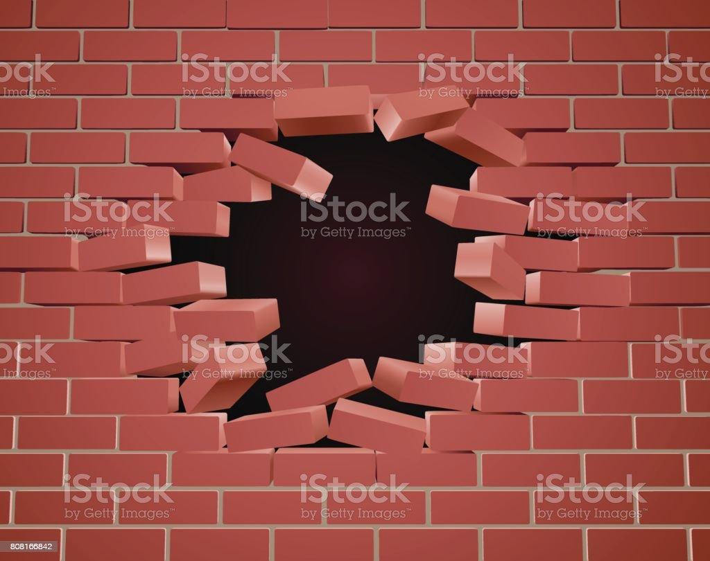 Casser Le Trou De Mur De Brique Vecteurs Libres De Droits Et Plus D Images Vectorielles De Abstrait Istock