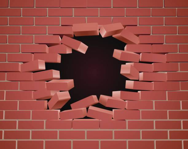 Breaking Brick Wall Hole vector art illustration
