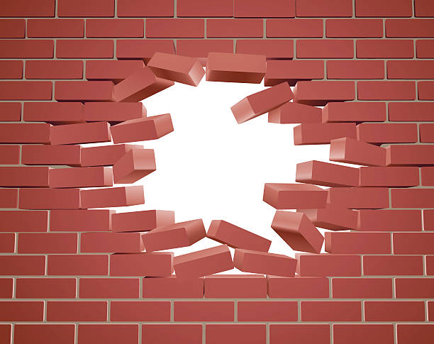 Breaking Brick Wall vector art illustration