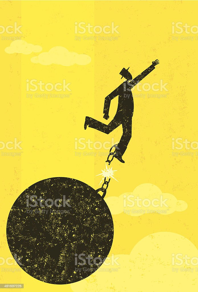 Breaking free from the ball and chain vector art illustration