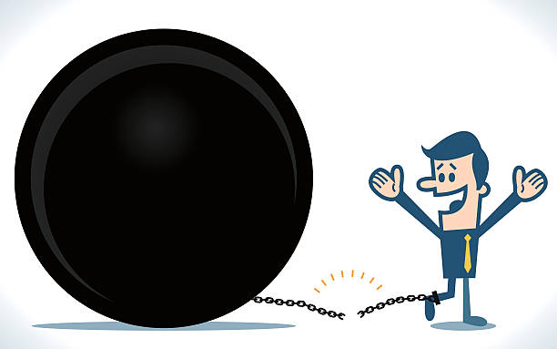 Breaking Free From The Ball And Chain Vector Art Illustration Shackles