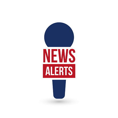 Breaking News Alerts logo for tv show, report online, microphone icon. Vector illustration