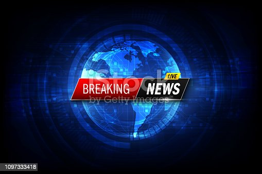 istock Breaking news background. Vector template for your design illustration 1097333418