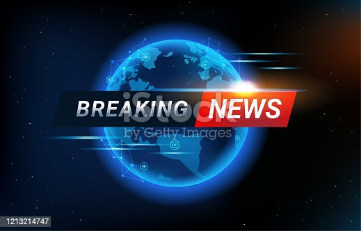 istock Breaking News background with world map backdrop. Blue Global connectivity line and headline bar for modern futuristic news template with technology sun light effect for TV studio. 1213214747