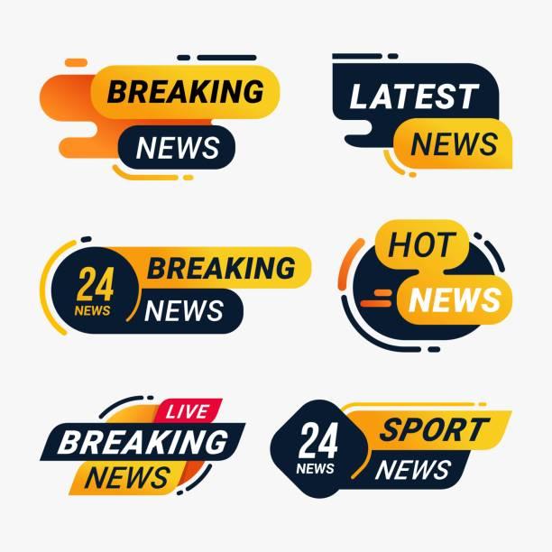illustrazioni stock, clip art, cartoni animati e icone di tendenza di breaking news badge template set. latest hot news label message information sticker vector illustration - titolo mondiale