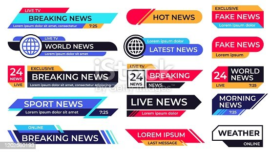 Breaking news banner. Broadcasting screen bars, television title third part banners and live TV sport news communication, information screen frame vector set