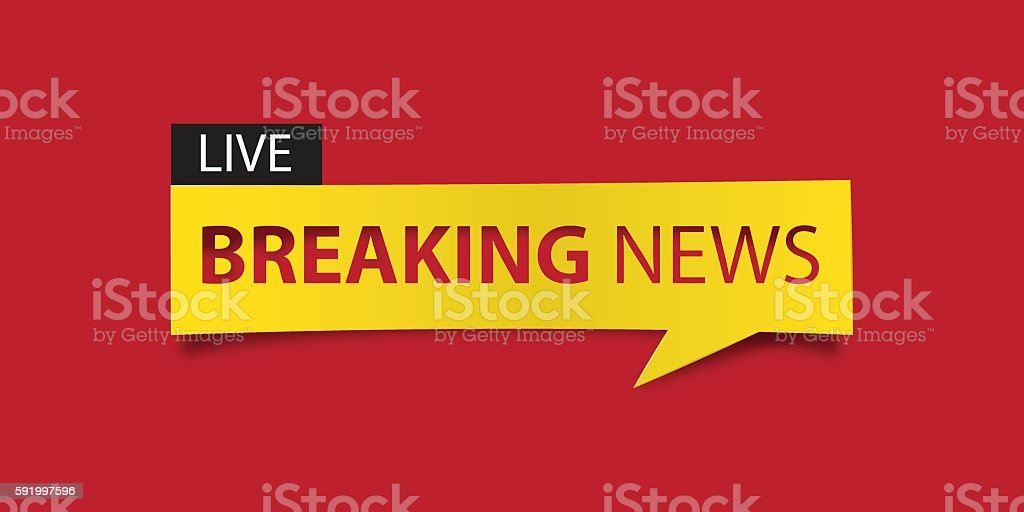 Breaking news banner isolated on red background. Banner design template. Vector vector art illustration