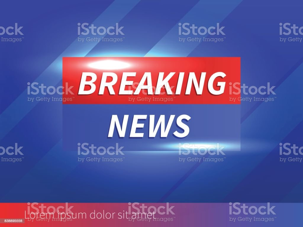 Breaking News Banner with striped blue Background