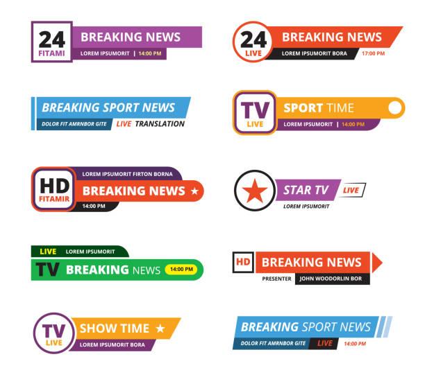 breaking news banners television interface bar tv graphic - kontuar baru stock illustrations