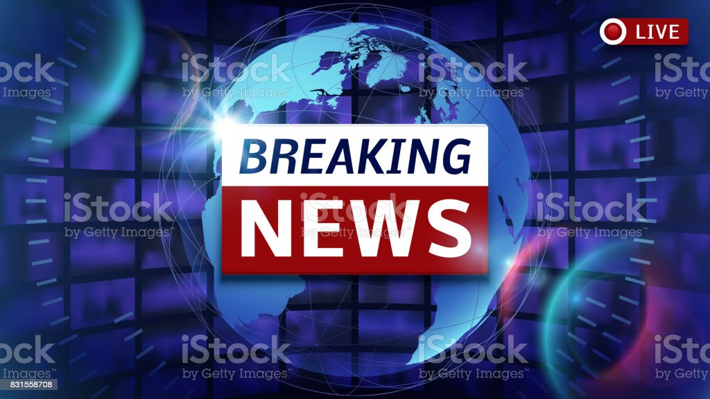 Breaking news broadcast vector futuristic background with world map vector art illustration