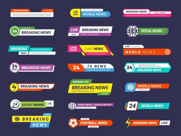 stockillustraties, clipart, cartoons en iconen met het laatste nieuws. uitzenden banners tv sport video-interface vectorafbeelding - new world