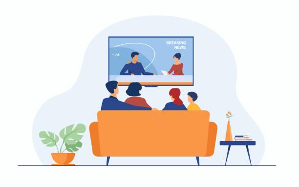 ilustrações de stock, clip art, desenhos animados e ícones de breaking news concept - tv e familia e ecrã