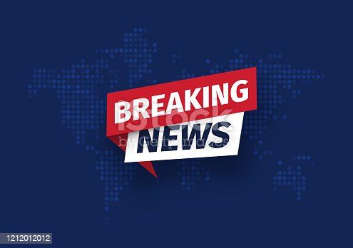 istock Breaking news Isolated vector icon. Sign of main news on dark world map background 1212012012