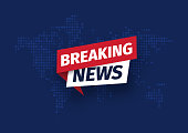 Breaking news Isolated vector icon. Sign of main news on dark world map background.