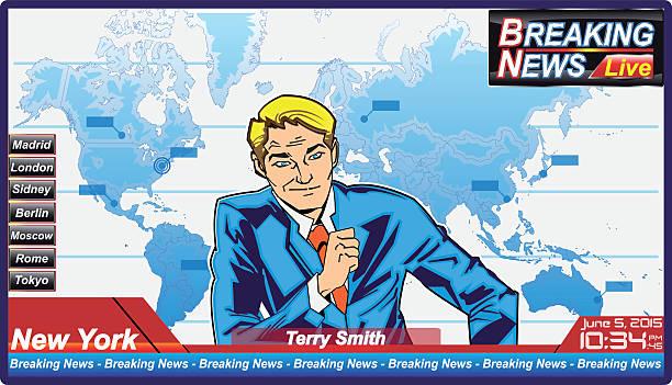 ilustrações de stock, clip art, desenhos animados e ícones de notícias de última hora jornalista com homem sério - mapa mundi