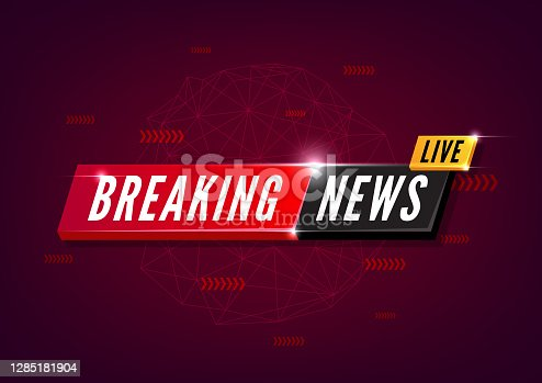 istock Breaking news live on red Background. 1285181904